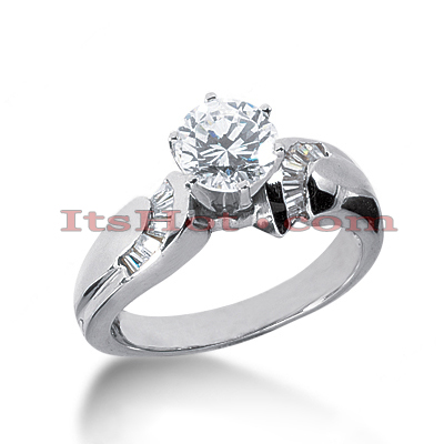 14K Gold Designer Diamond Prong and Channel Set Engagement Ring 0.90ct Main Image