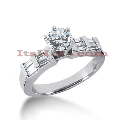 14K Gold Designer Baguette and Round Diamond Engagement Ring 0.90ct Main Image
