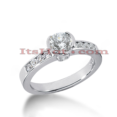 14K Gold Designer Bezel and Channel Set Diamond Engagement Ring 0.90ct Main Image