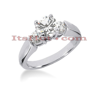 14K Gold 3 Stone Diamond Engagement Ring 0.90ct Main Image