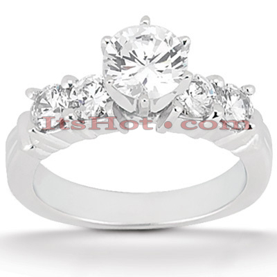 14K Gold 5 Stone Round Diamond Engagement Ring 0.90ct Main Image