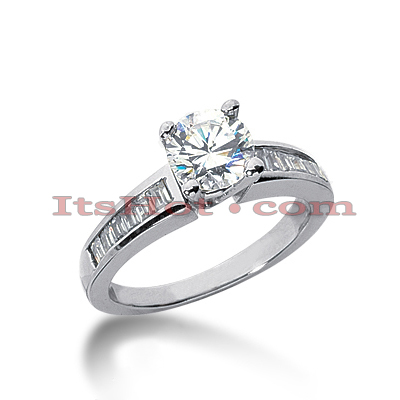 14K Gold Baguette and Round Diamond Engagement Ring 0.92ct Main Image