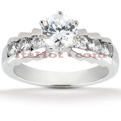 14K Gold Designer Diamond Channel and Prong Set Engagement Ring 0.92ct Main Image