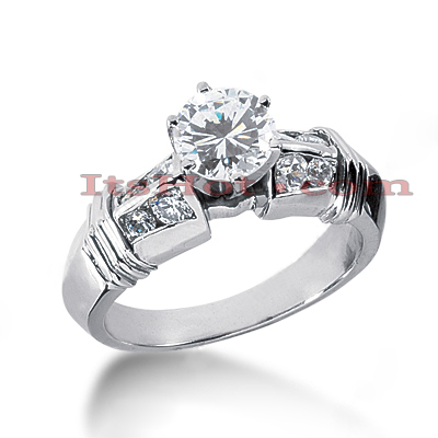 14K Gold Designer Prong and Channel Set Diamond Engagement Ring 0.94ct Main Image