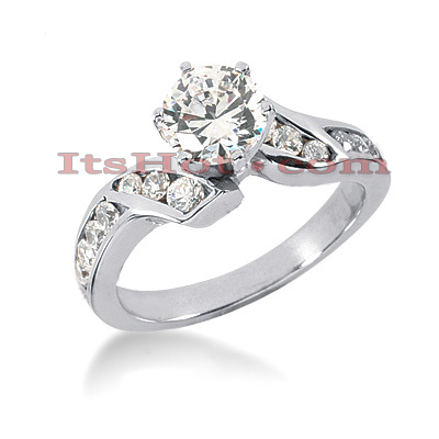 14K Gold DesignerCannel and Prong Set Diamond Engagement Ring 0.95ct Main Image