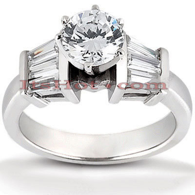 14K Gold Designer Baguette and Round Diamond Engagement Ring 0.98ct
