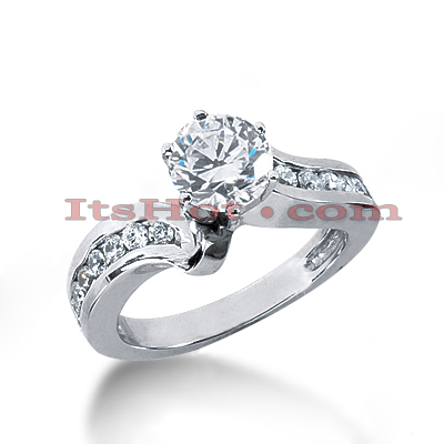 14K Gold Designer Prong and Channel Diamond Engagement Ring 0.98ct Main Image