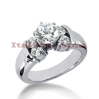 14K Gold Designer Round Diamond Engagement Ring 0.98ct Main Image