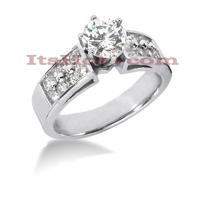 14K Gold Designer Handmade Prong Set Diamond Engagement Ring 0.98ct Main Image