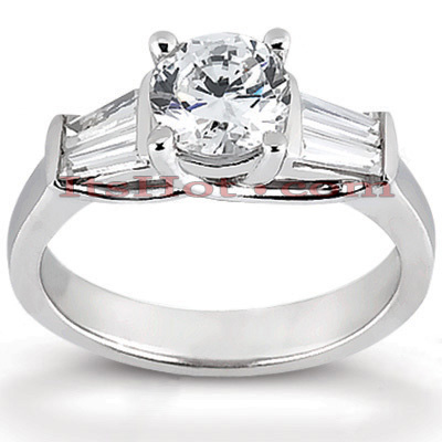 14K Gold Designer Baguette and Round Diamond Engagement Ring 1.02ct