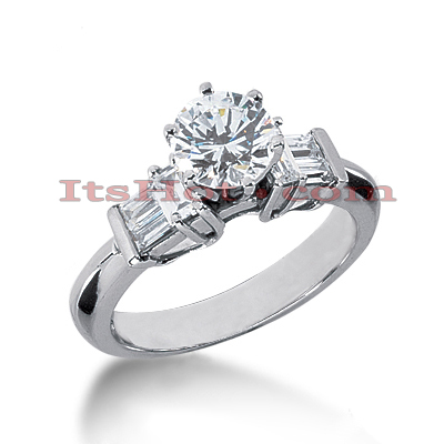 14K Gold Designer Prong and Bar Diamond Engagement Ring 1.02ct Main Image