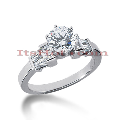 14K Gold Designer Round and Baguette Diamond Engagement Ring 1.02ct Main Image