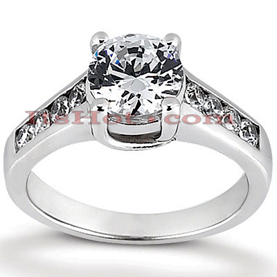 14K Gold Prong and Channel Set Diamond Engagement Ring 1.05ct Main Image