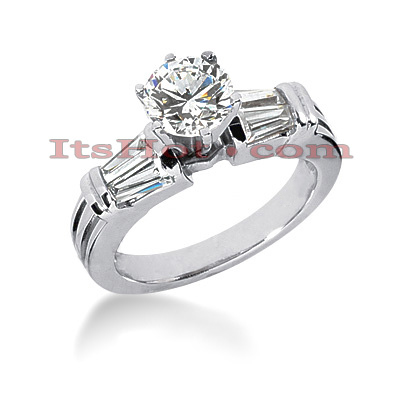 14K Gold Baguette and Round Diamond Engagement Ring 1.06ct Main Image