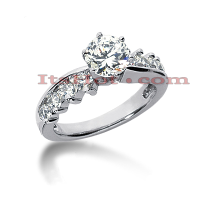 14K Gold Designer Diamond Engagement Ring 1.12ct Main Image