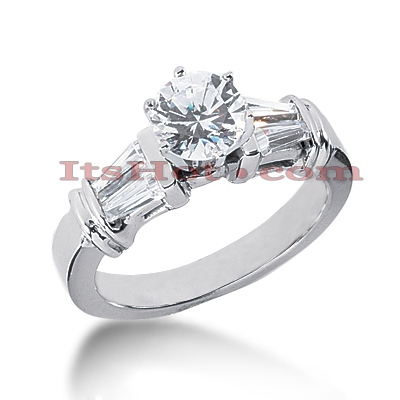 14K Gold Baguette and Round Diamond Engagement Ring 1.14ct Main Image
