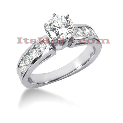 14K Gold Designer Prong and Channel Set Diamond Engagement Ring 1.14ct Main Image