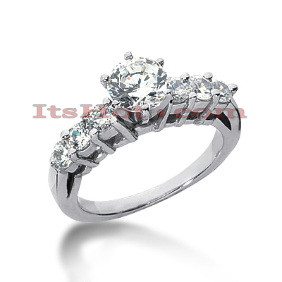 14K Gold 7 Stone Diamond Engagement Ring 1.18ct Main Image