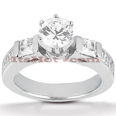 14K Gold Designer Round and Princess Diamond Engagement Ring 1.18ct Main Image