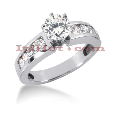 14K Gold Designer Prong and Channel Set Diamond Engagement Ring 1.20ct