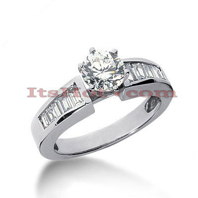 14K Gold Baguette and Round Diamond Engagement Ring 1.38ct Main Image