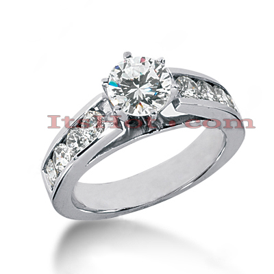 14K Gold Prong and Channel Set Diamond Engagement Ring 1.38ct Main Image