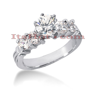 14K Gold Designer Prong Set Diamond Engagement Ring 1.40ct Main Image