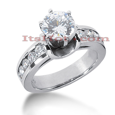 14K Gold Designer Prong and Channel Set Diamond Engagement Ring 1.50ct Main Image