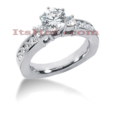 14K Gold Designer Prong and Channel Diamond Engagement Ring 1.52ct Main Image