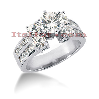 14K Gold Designer Round Diamond Engagement Ring 1.74ct Main Image