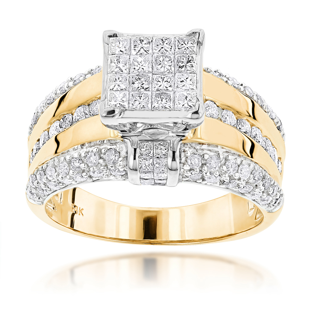 14K Gold Designer Diamond Engagement Ring 1.88ct Yellow Image