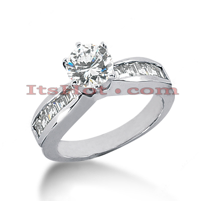 14K Gold Round and Baguette Diamond Engagement Ring 1ct Main Image