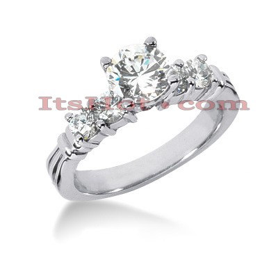 14K Gold Designer Prong Set Diamond Engagement Ring 1ct Main Image