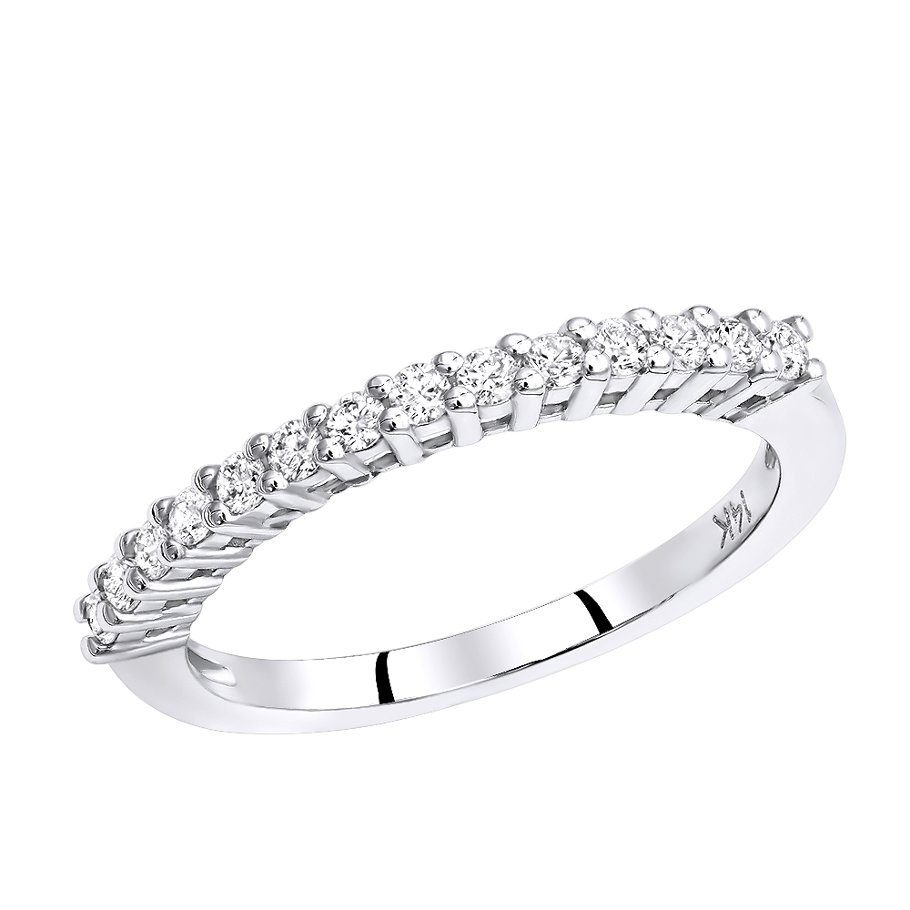 14K Gold Designer Prong Set Diamond Engagement Ring Band 0.21ct White Image