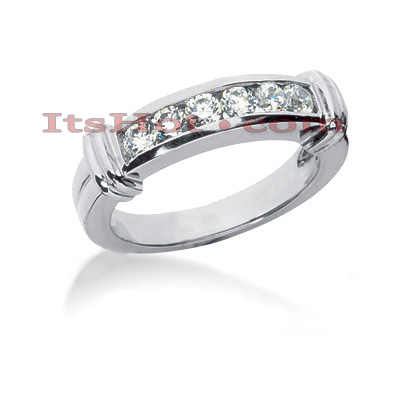 14K Gold Designer Channel Set Diamond Engagement Ring Band 0.24ct Main Image