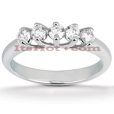 14K Gold 5 Stone Diamond Engagement Ring Band 0.30ct Main Image