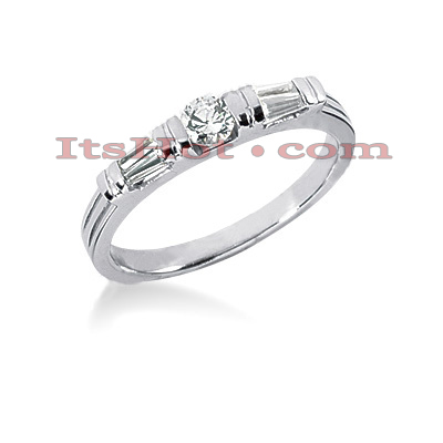 14K Gold Baguette and Round Diamond Engagement Ring Band 0.39ct Main Image