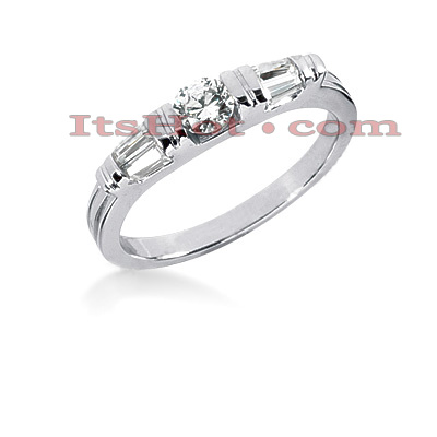 14K Gold Baguette and Round Diamond Engagement Ring Band 0.49ct Main Image