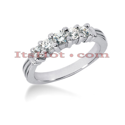 14K Gold 5 Stone Diamond Engagement Ring Band 0.49ct Main Image