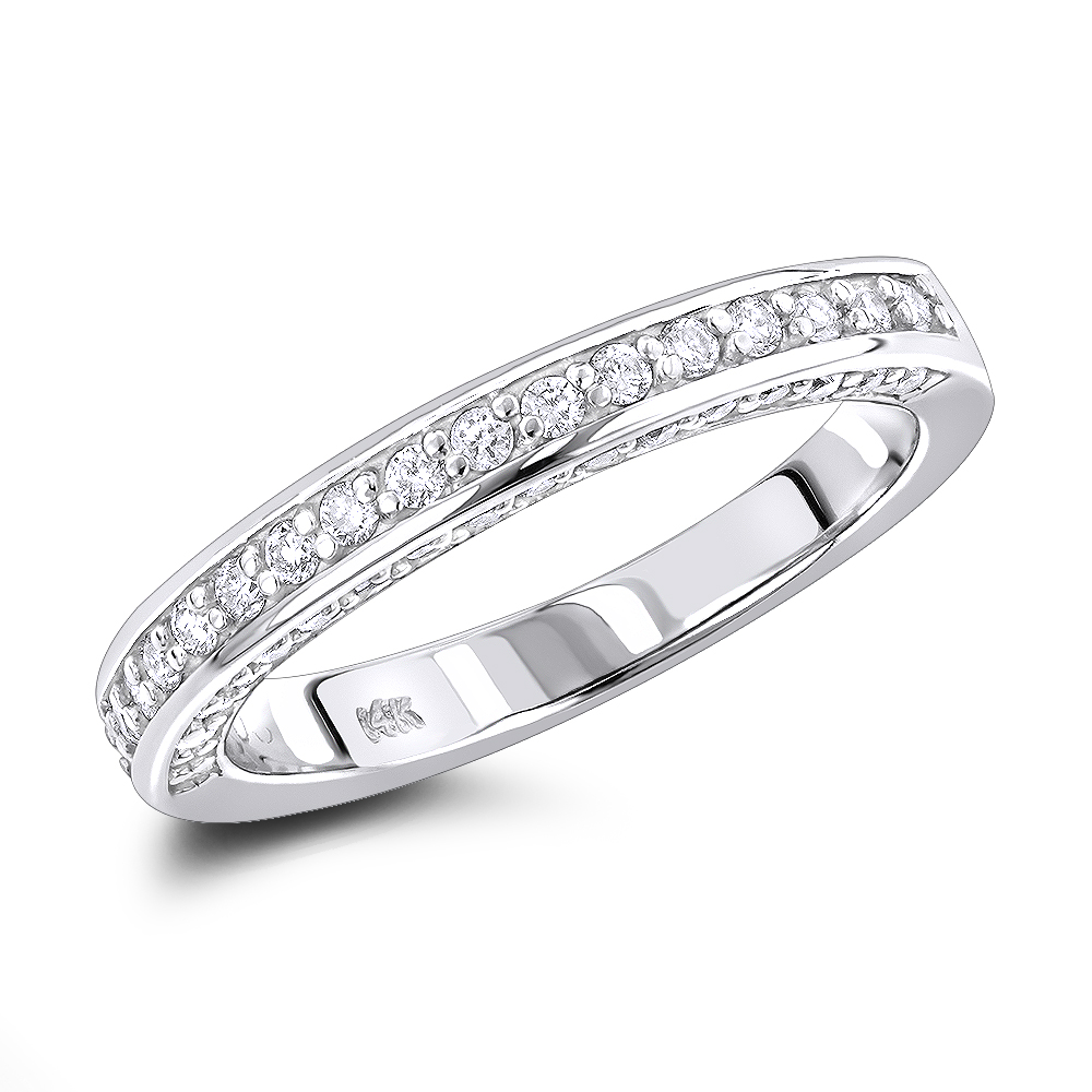 Thin 14K Gold Designer Diamond Engagement Ring Band 0.62ct White Image