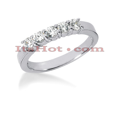 14K Gold 5 Stone Diamond Engagement Ring Band 0.65ct Main Image