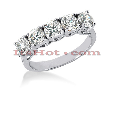14K Gold 5 Stone Designer Diamond Engagement Ring Band 1.50ct Main Image