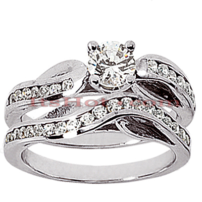 14K Gold Designer Channel and Prong Set Diamond Engagement Ring Set 0.48ct Main Image