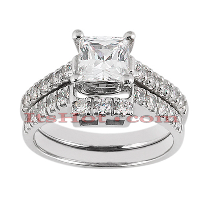 14K Gold Designer Diamond Engagement Ring Set 0.59ct Main Image