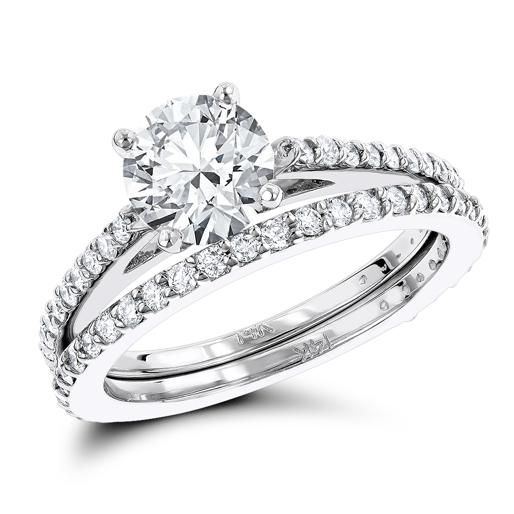 14K Gold Prong Set Diamond Engagement Ring Mounting Set 0.69ct White Image