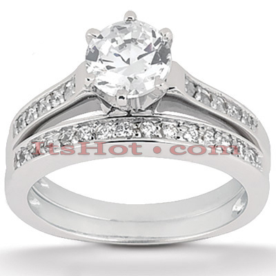 14K Gold Designer Diamond Engagement Ring Set 0.74ct Main Image