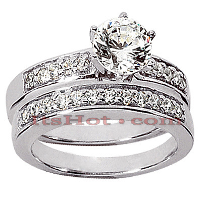 14K Gold Designer Diamond Engagement Ring Set 0.89ct Main Image