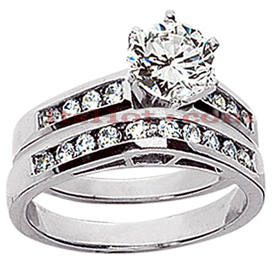 14K Gold Channel and Prong Set Diamond Engagement Ring Set 0.90ct Main Image