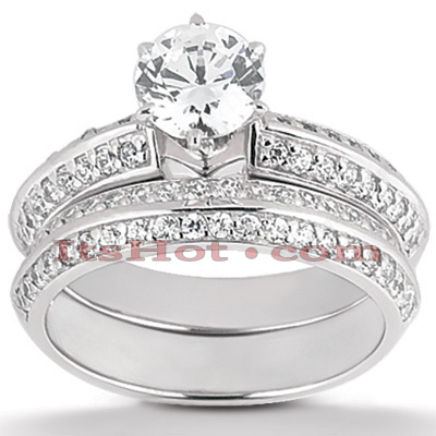 14K Gold Designer Diamond Engagement Ring Set 0.93ct Main Image