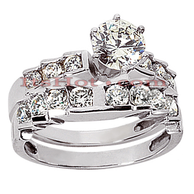 14K Gold Designer Diamond Engagement Ring Set 0.98ct Main Image